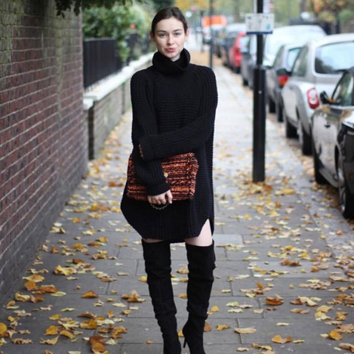 Fall Knitted Sweater Dress 3 Mujo Lysa